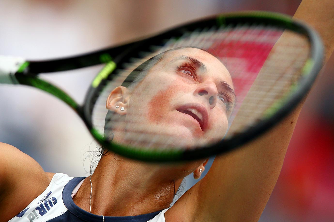 Flavia Pennetta serves to Roberta Vinci during their singles Final match at the U.S. Open.