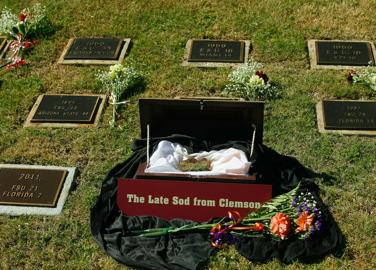 The biggest wins in Florida State history are etched deep in the memory of every Seminoles fan. But that's not the only place they're buried. For the last 52 years, FSU has memorialized each big road win and bowl game victory by grabbing a piece of turf and bringing it back to Tallahassee. Florida State's Sod Cemetery is now home to dozens of dirt clods and the memories they evoke.