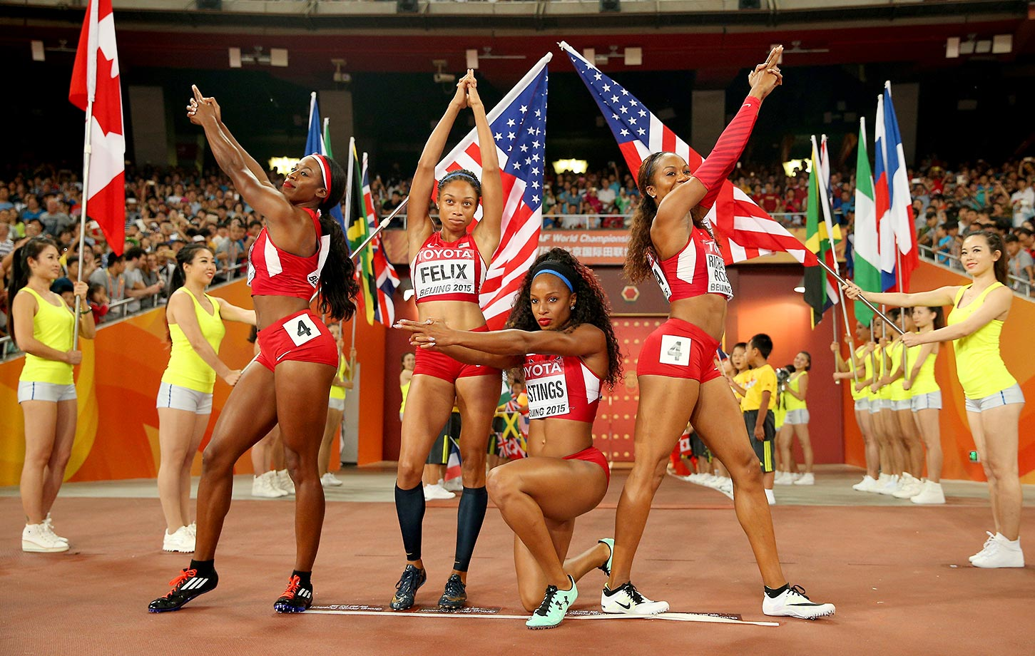 Francena McCorory, Sanya Richards-Ross, Natasha Hastings and Allyson Felix of the U.S. pose before the start of the 4x400 relay final at the IAAF World Athletics Championships.