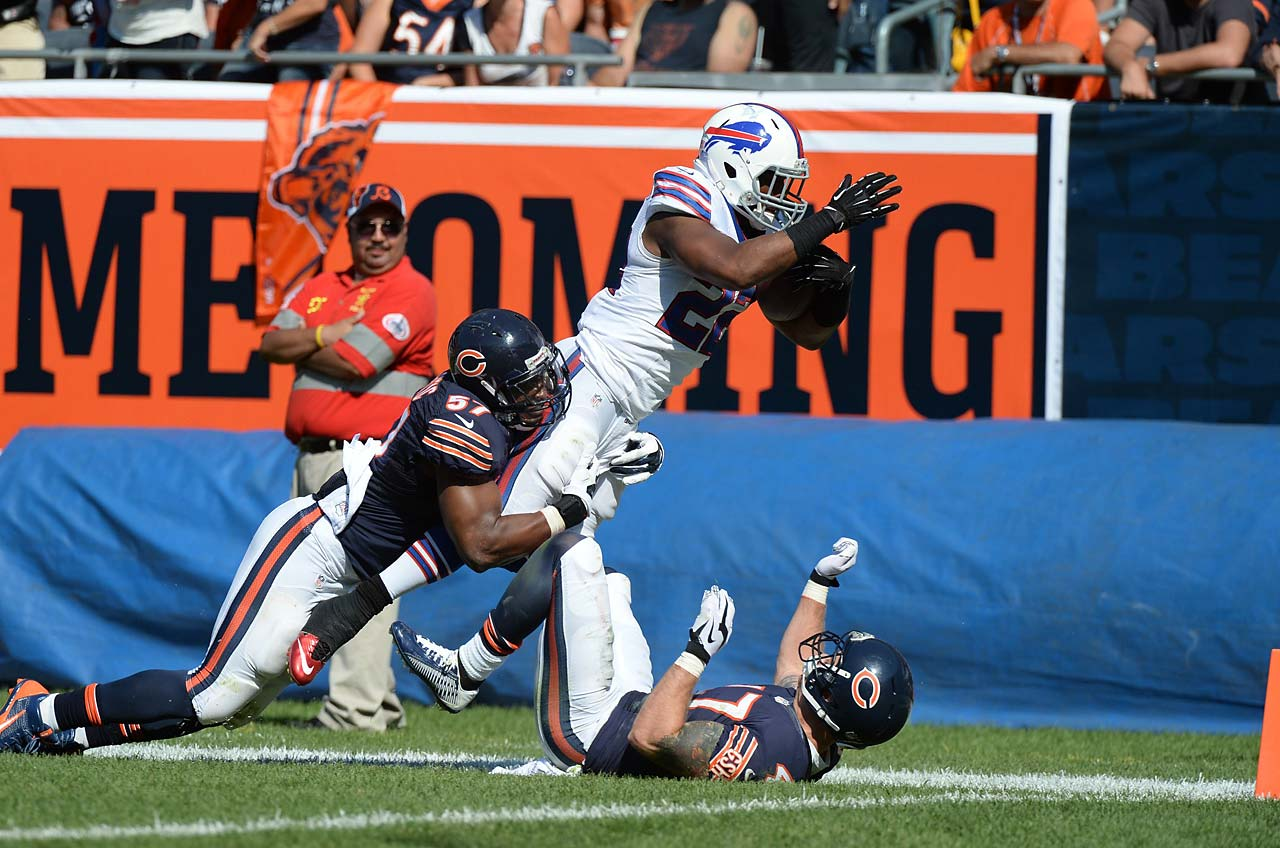 Fred Jackson dives for the endzone against the Bears but came up short.