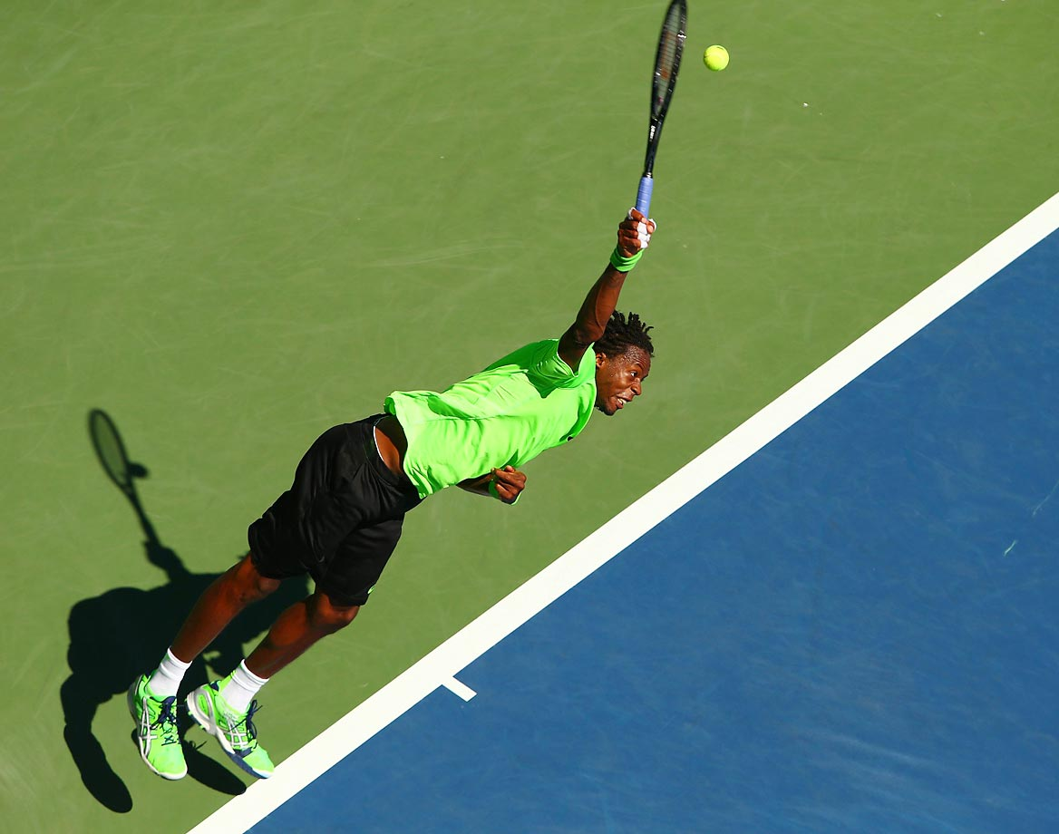 An overhead view of Gael Monfils in his third-round match on Aug. 30.  He celebrated his 28th birthday on Monday.