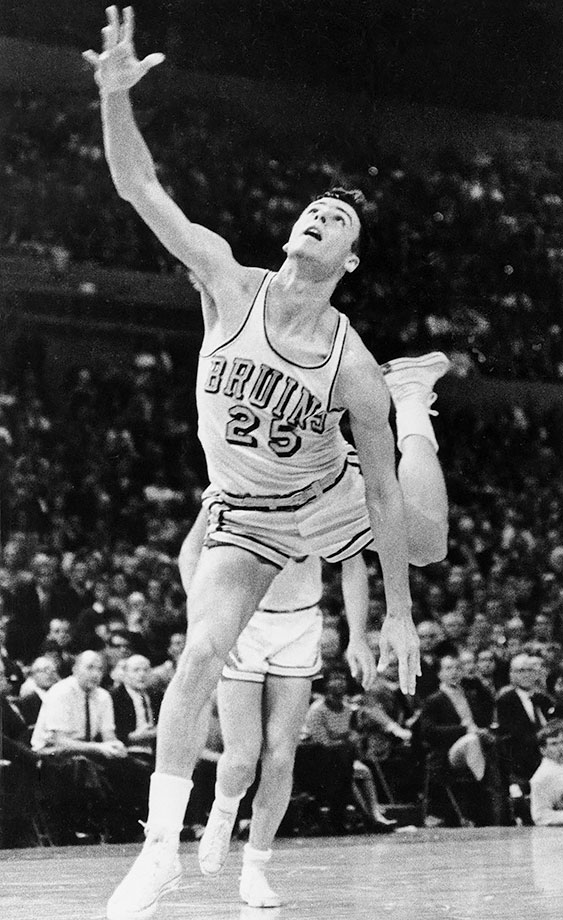 Goodrich was undersized and overlooked as a high school player in southern California, but his speed and deadeye shooting made him ideally suited for John Wooden's up-tempo system. In 1964, Goodrich teamed with Walt Hazzard to form arguably the best backcourt in NCAA tournament history. The Bruins went undefeated to deliver Wooden his first title. The following year, with Hazzard gone, Goodrich took over both playmaking and scoring duties and led the Bruins to another title. Goodrich averaged 21.5 and 24.8 points per game during his junior and senior seasons.