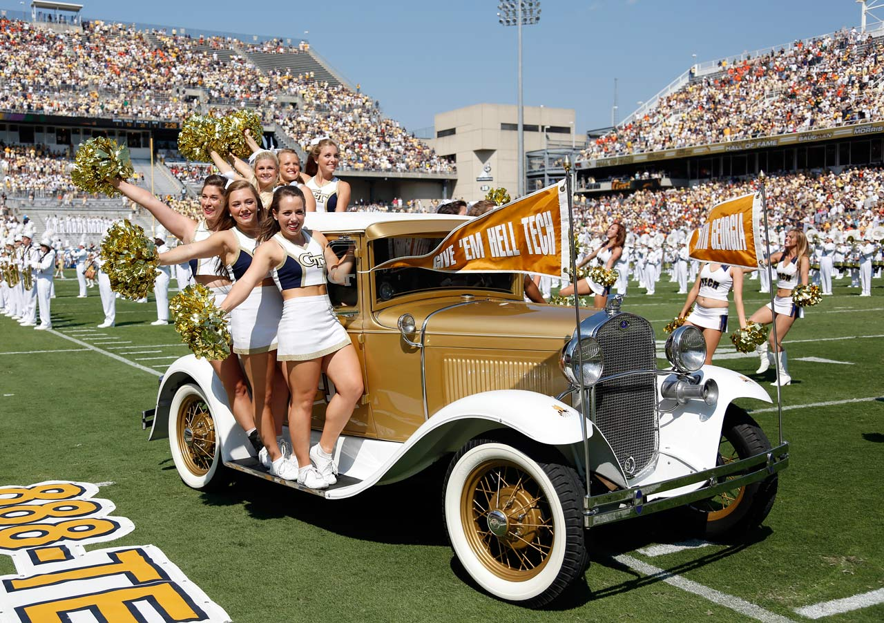 From drinking song to vehicular mascot, the history of the Ramblin' Wreck is about as rambling as you would imagine. Georgia Tech's official mascot is a 1930 Ford Model A sport coupe, painted GT gold to match the Yellow Jackets' color scheme. The old jalopy whips around the field at Bobby Dodd Stadium in Atlanta, with Georgia Tech cheerleaders and GT's stingy mascot, Buzz, clinging tightly.