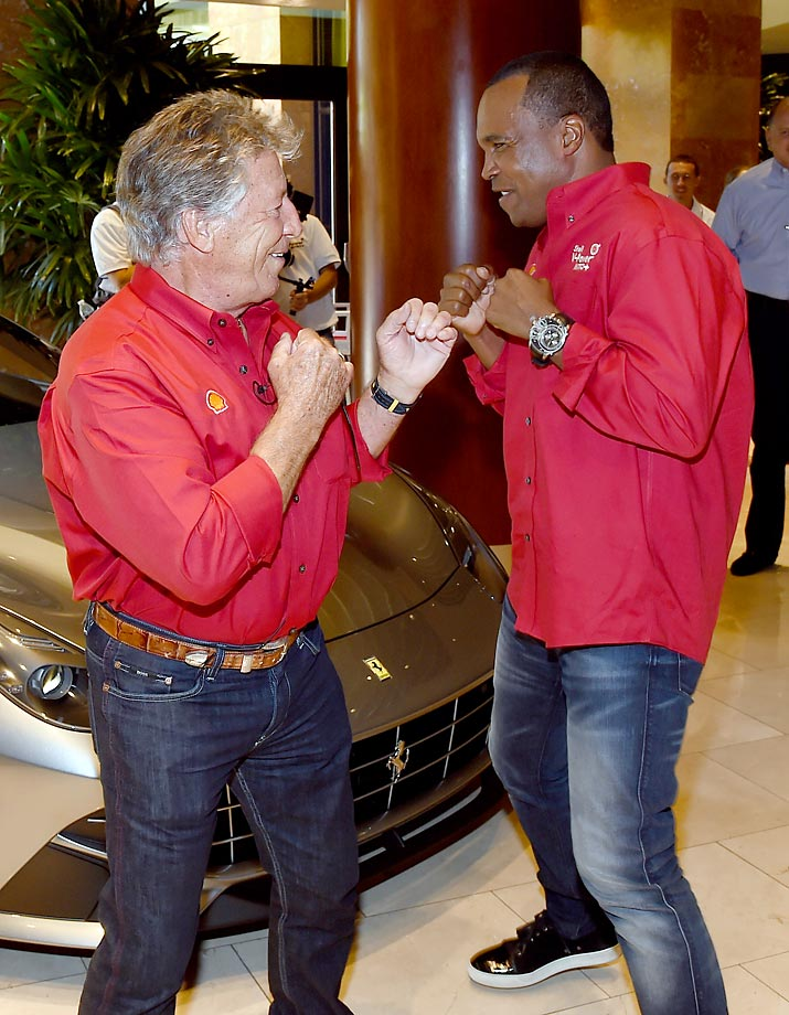 Sugar Ray Leonard (right) and sparring partner Mario Andretti (left) had some fun at the Penske Wynn Ferrari Showroom at Wynn Las Vegas on June 8.