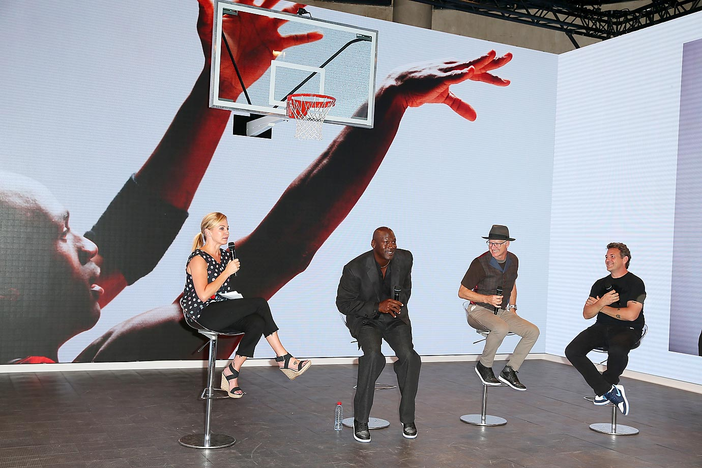 Michael Jordan was in Paris to celebrate the 30th anniversary of the Air Jordan basketball shoe during the Palais 23 street basketball tournament.