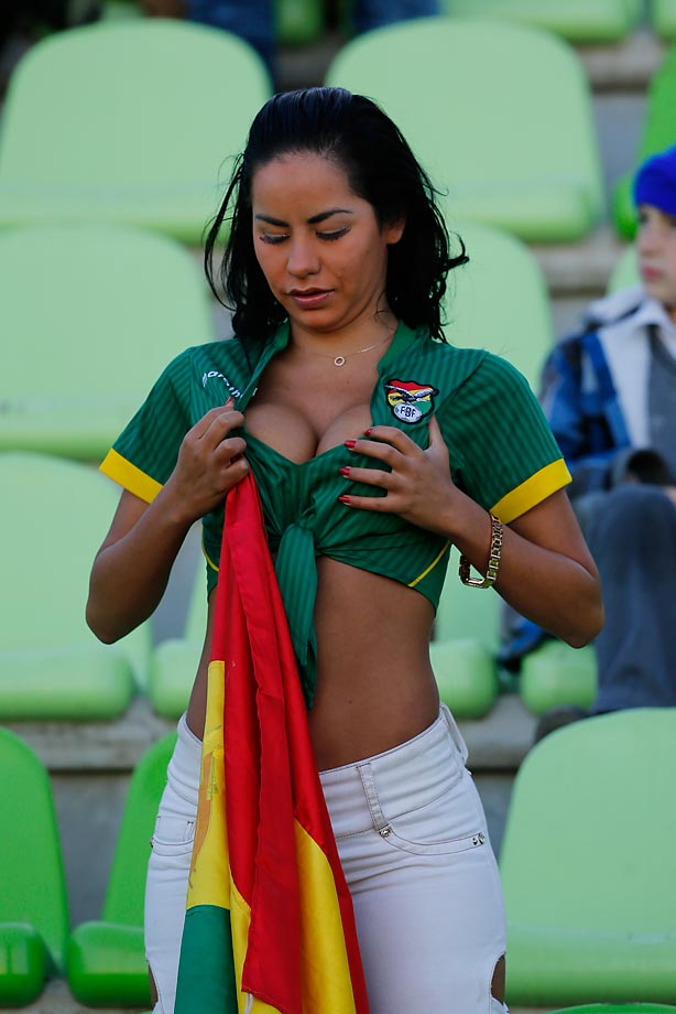 A fan of Bolivia readjusts things while at the 2015 Copa America Chile Group A match between Ecuador and Bolivia in Valparaiso, Chile.
