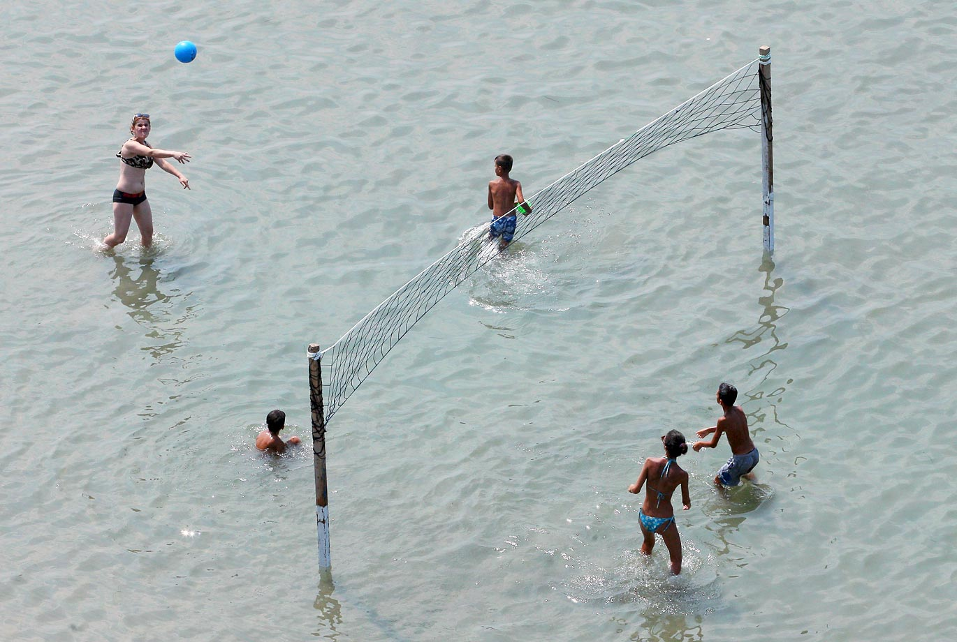 Beach volleyball on the Adriatic Sea in the city of Durres.