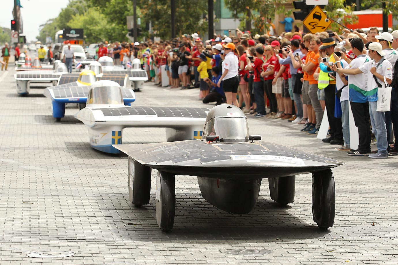 World Solar Challenge participants take part in a street parade after the 2015 Bridgestone World Solar Challenge in Adelaide, Australia.