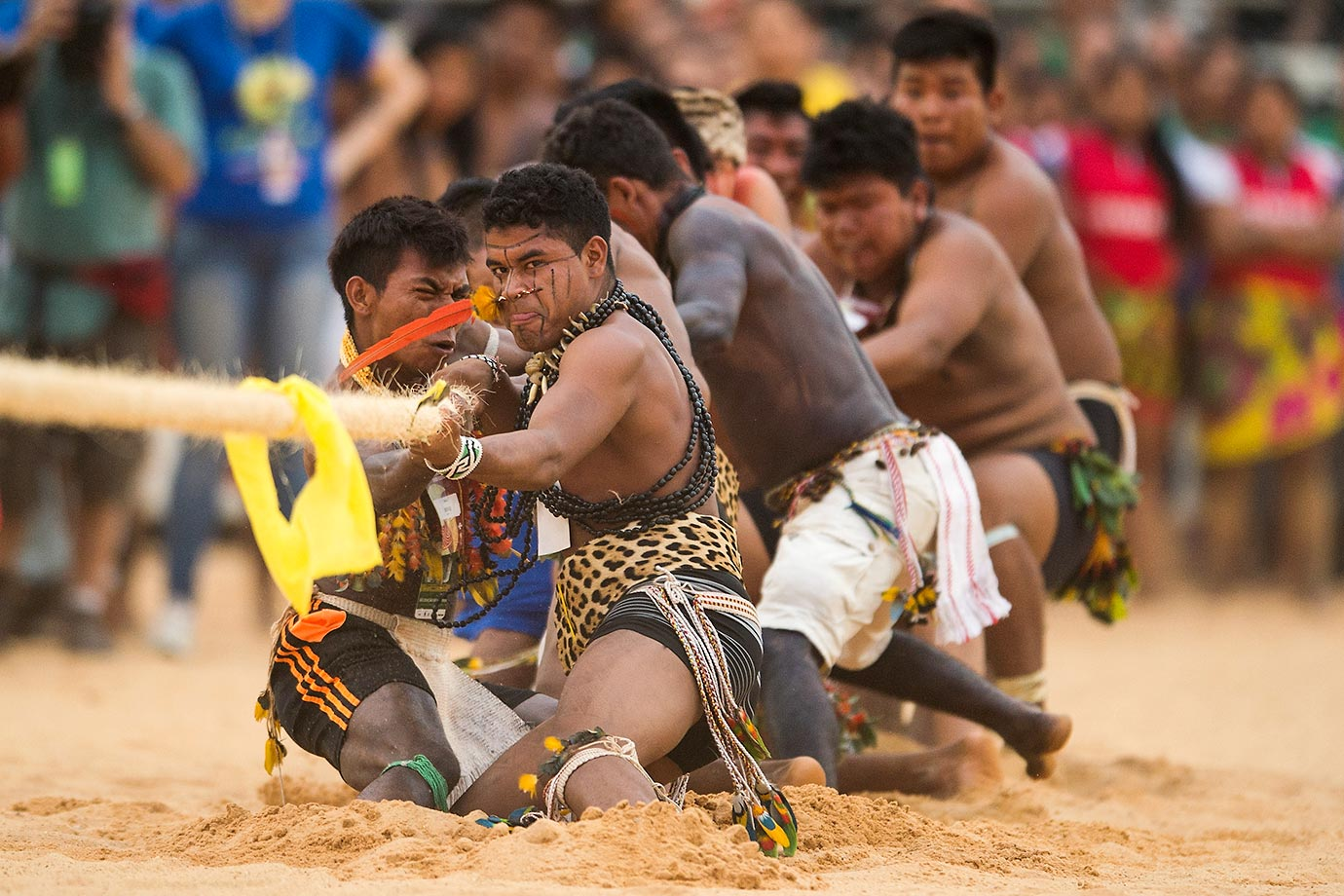 Brazilian indigenous natives participate in the tug-of-war competition at the first World Indigenous Games in Palmas, Brazil.