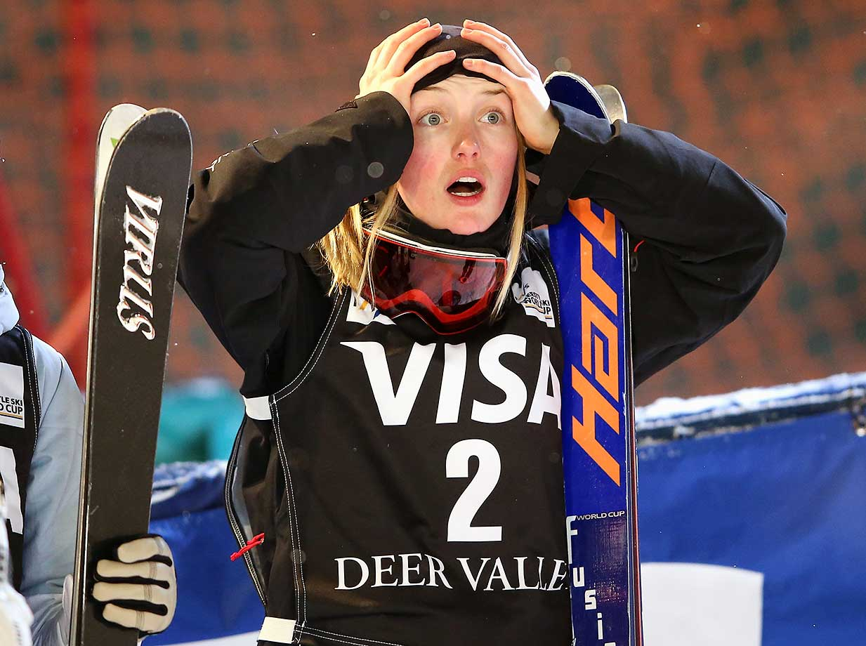 Justine Dufour-Lapointe reacts after sking to first place in the the FIS Freestyle Skiing Moguls World Cup in Park City, Utah.