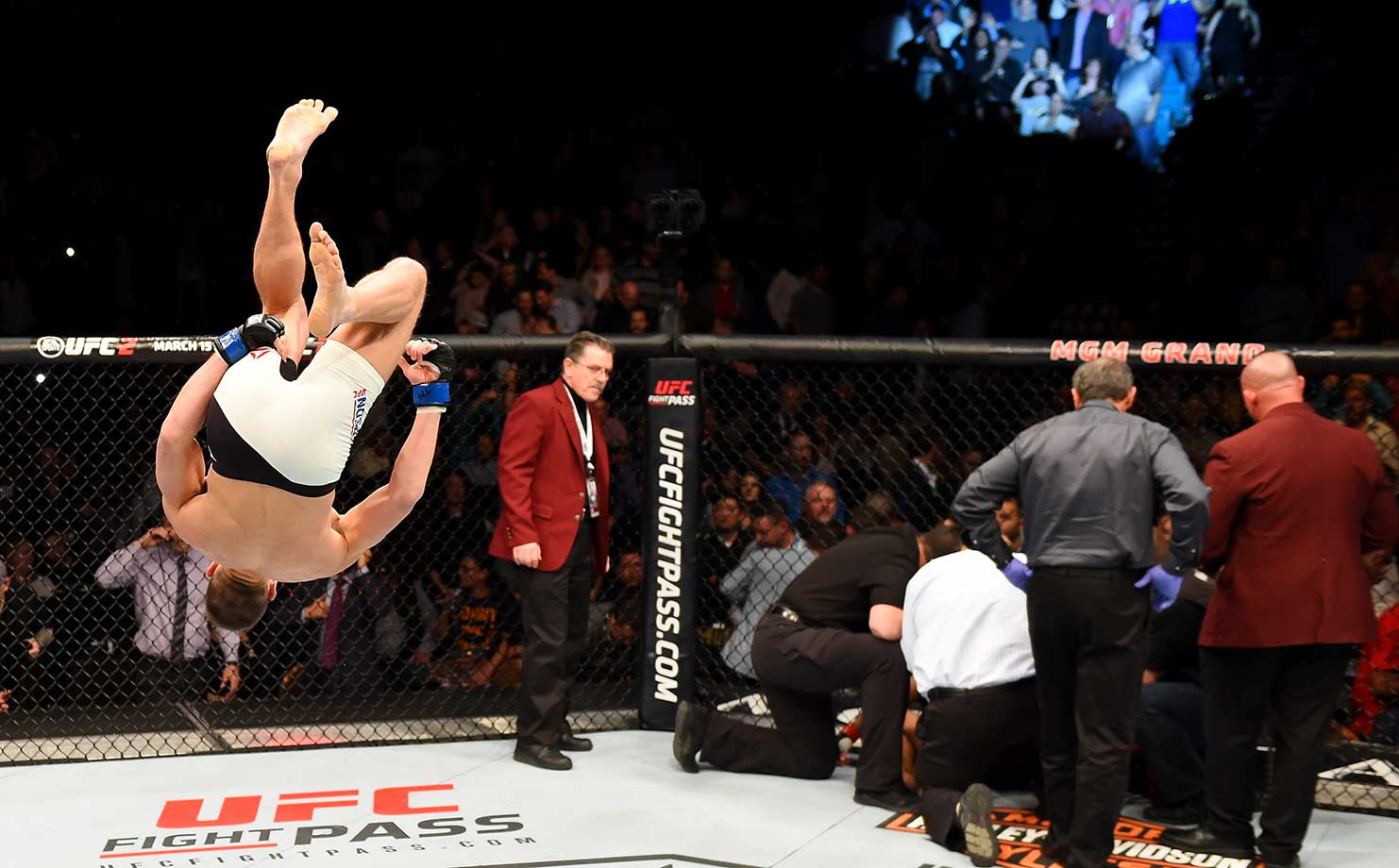 Stephen Thompson celebrates after defeating Johny Hendricks during the UFC Fight Night event in Las Vegas, Nevada.