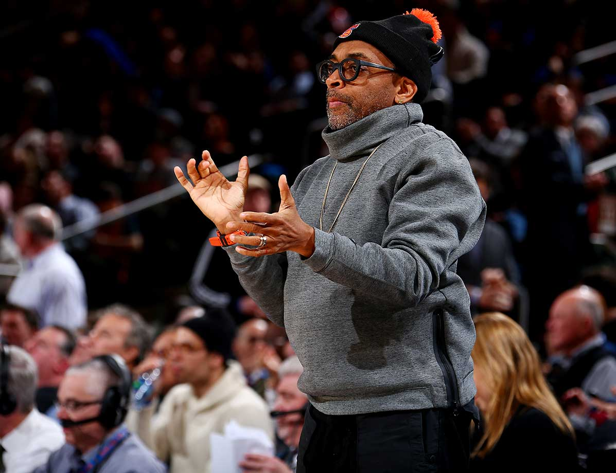 Spike Lee attends the game between the New York Knicks and the Washington Wizards at Madison Square Garden.