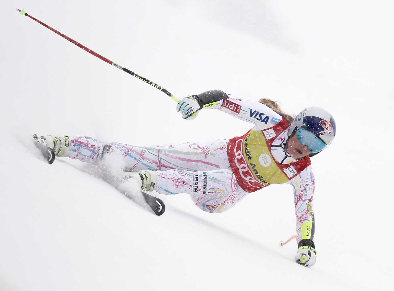 Lindsey Vonn competes during the World Cup Women's Super-G in Soldeu, Andorra.