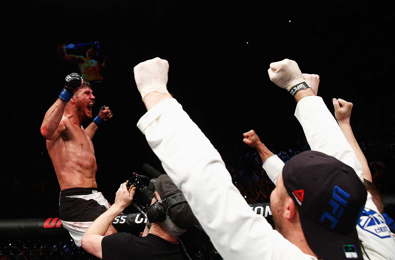 Michael Bisping celebrates after his win over Anderson Silva in their UFC middleweight bout in London.