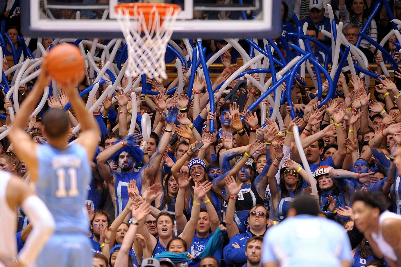 Cameron Crazies and fans of the Duke Blue Devils try to distract Brice Johnson of North Carolina.