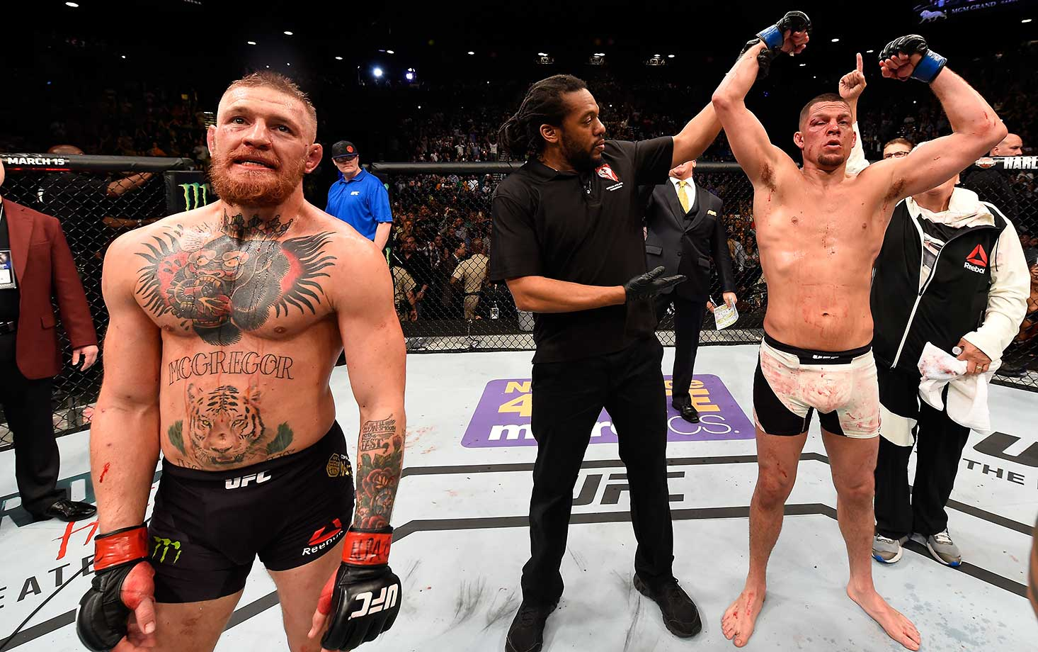 Nate Diaz reacts to his victory over Conor McGregor of Ireland in their welterweight bout at UFC 196.