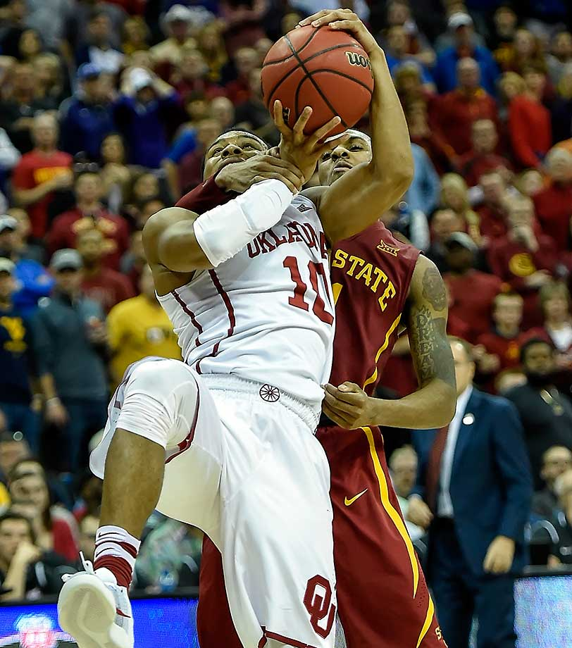 Iowa State's Monte Morris was called for a technical foul on Oklahoma's Jordan Woodard after this play.
