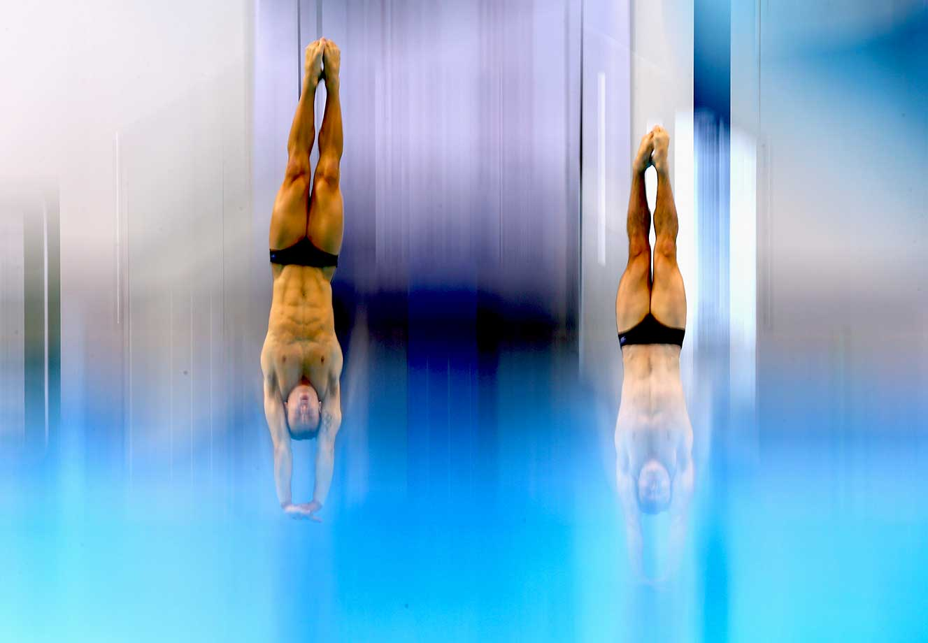 Tom Daley and Daniel Goodfellow of Great Britain dive in the 10m Synchro Platform Final during day one of the FINA/NVC Diving World Series 2016.