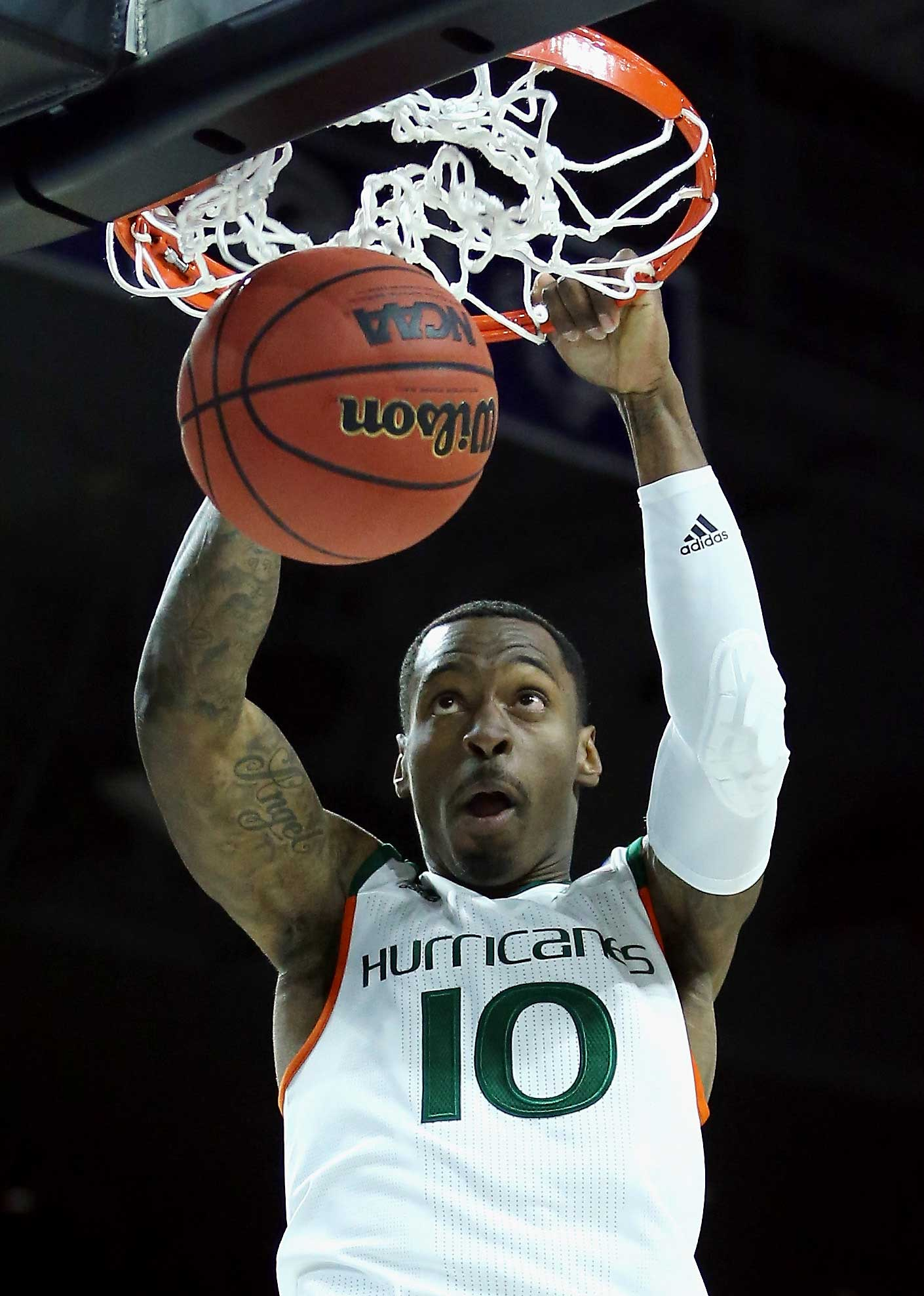 Sheldon McClellan of Miami dunks the ball in a seven-point win over Buffalo.