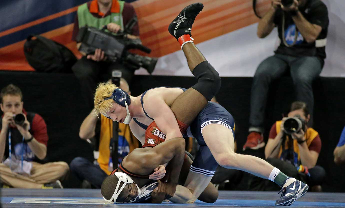 Bo Nickal of Penn State Nittany wrestles Josef Johnson of Harvard during the NCAA Wrestling Championships in New York City.
