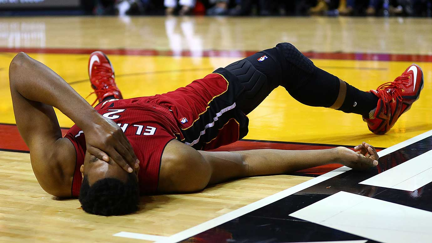 Hassan Whiteside of the Miami Heat reacts to a play during a game against the Charlotte Hornets.