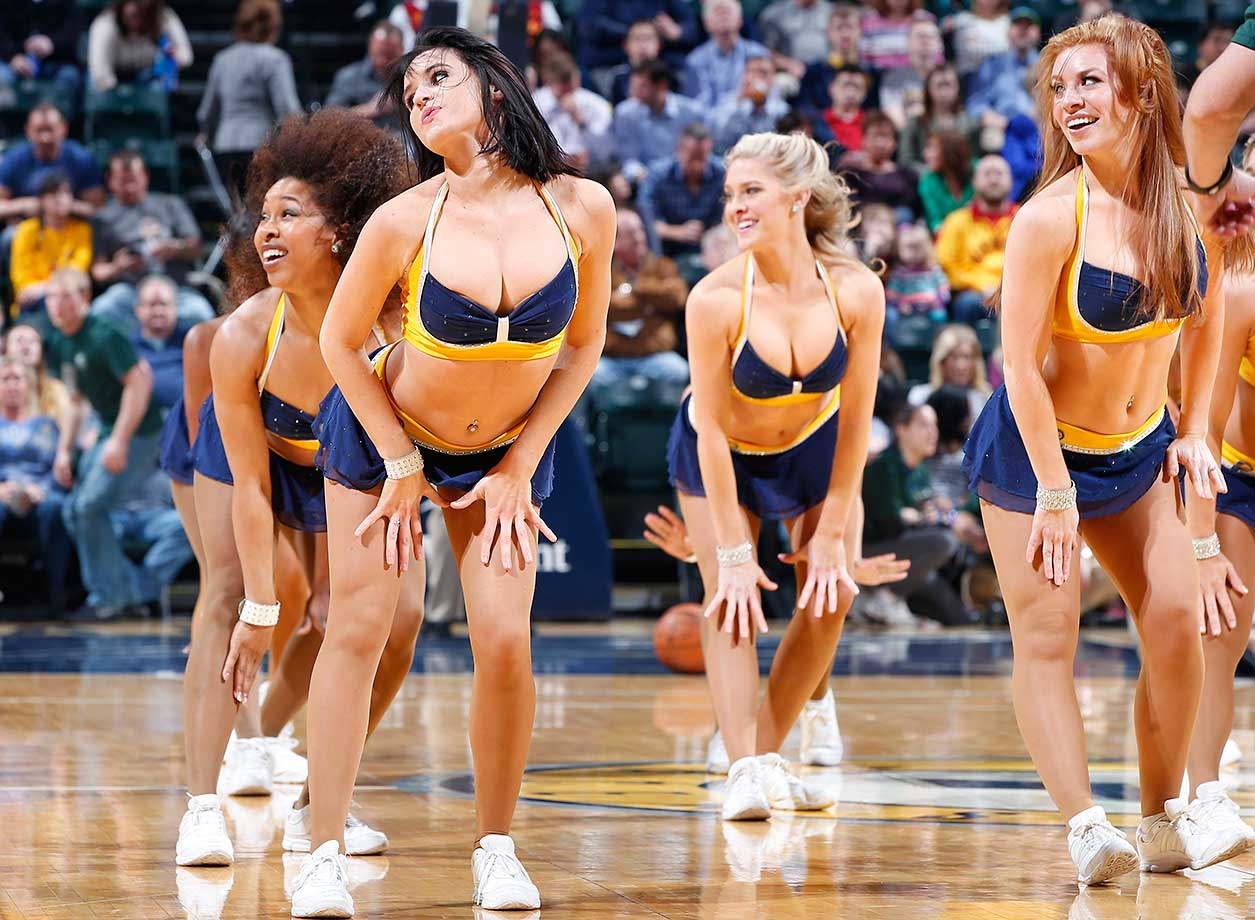 The Indiana Pacers cheerleaders perform during a break of the Pacers-New Orleans Pelicans game.