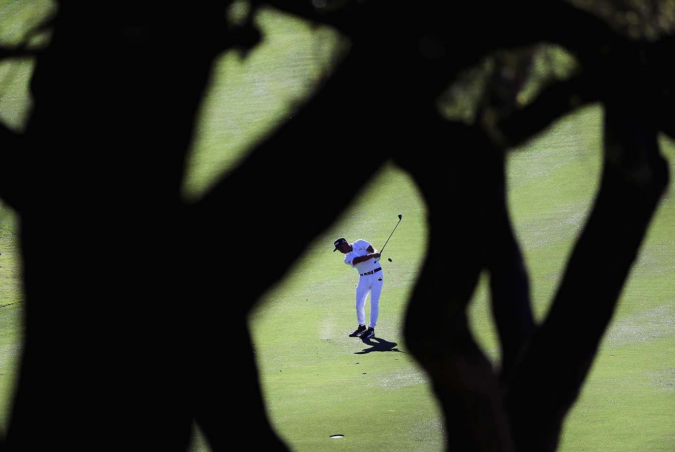 Rickie Fowler of the United States plays a shot on the ninth hole during the second round of the World Golf Championships-Dell Match Play in Austin, Texas.