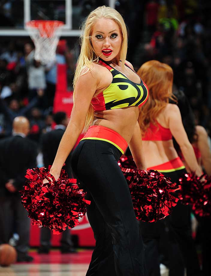 Dancers perform during the game between the Milwaukee Bucks and Atlanta Hawks.