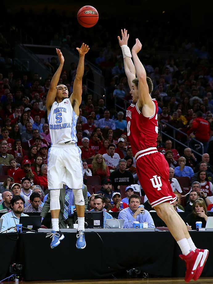 Marcus Paige made six three-pointers for North Carolina in its 101-86 thumping of Indiana.