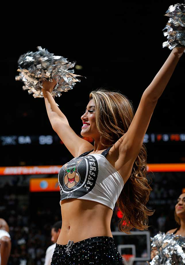The San Antonio Spurs dance team is seen against the Memphis Grizzlies.