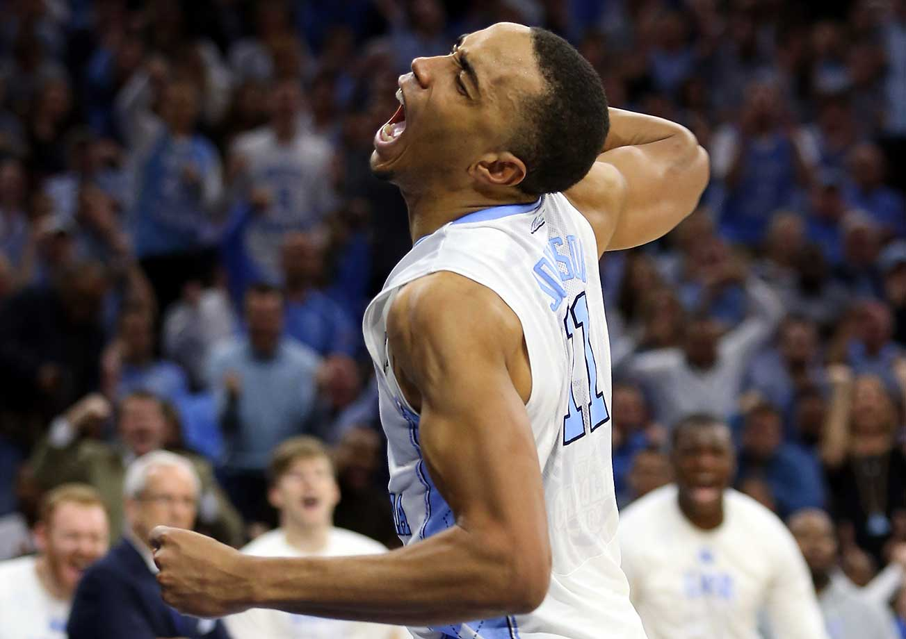 Brice Johnson of North Carolina celebrates as the Tar Heels advanced to the Elite Eight to face Notre Dame.
