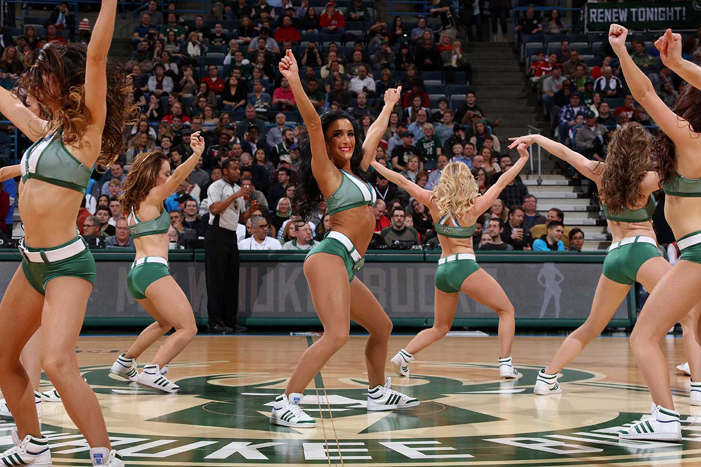 The Milwaukee Bucks dancers are seen during the game against the Charlotte Hornets.