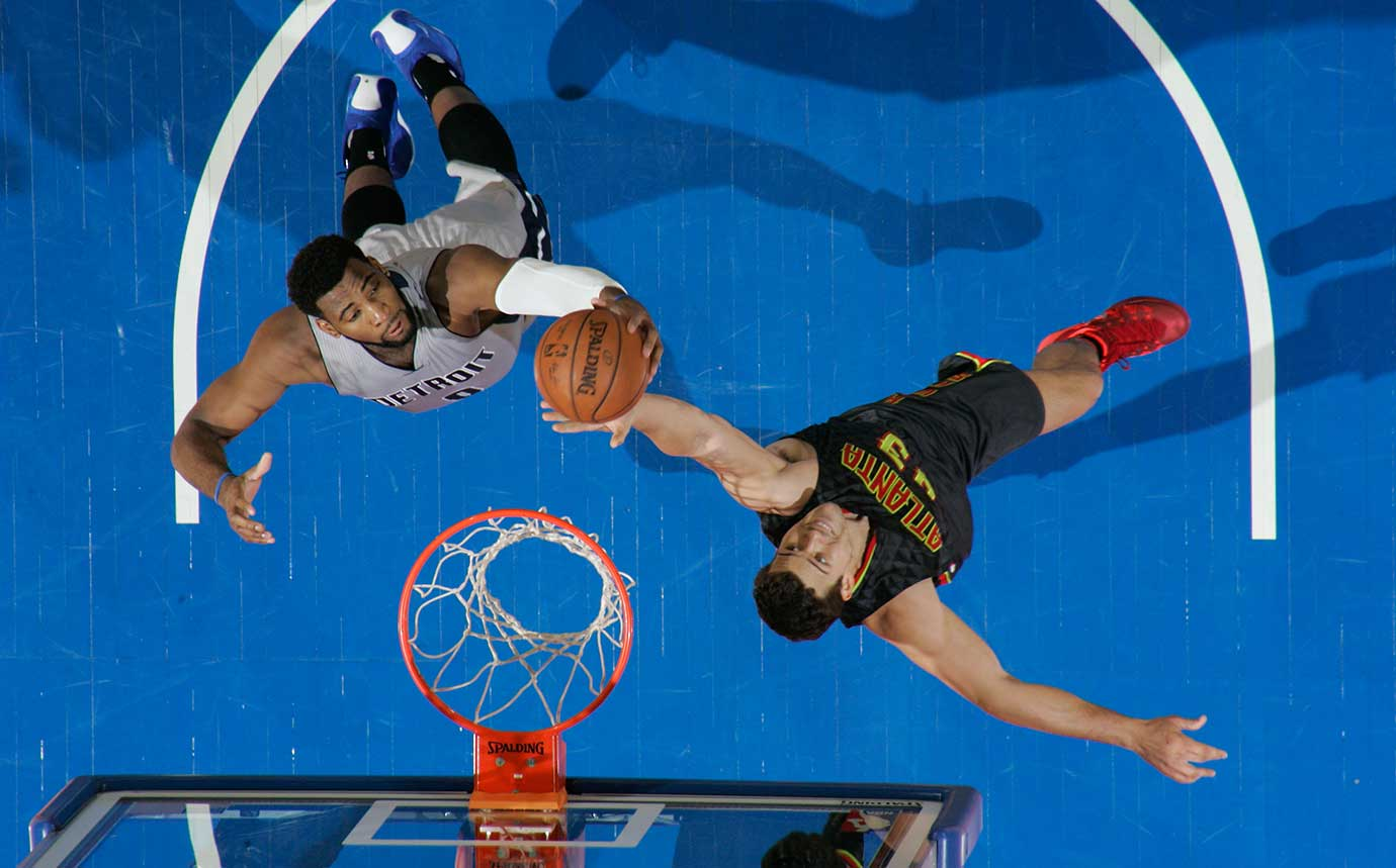 Kris Humphries (430 of the Atlanta Hawks jumps for the rebound against Andre Drummond of Detroit.