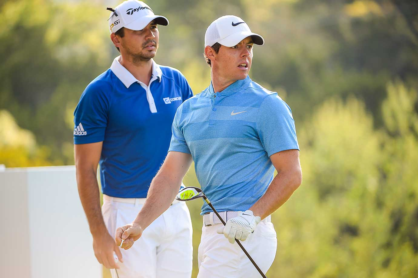 Rory McIlroy and Jason Day during the final round of the World Golf Championships in Austin, Texas, which Day ended up winning.
