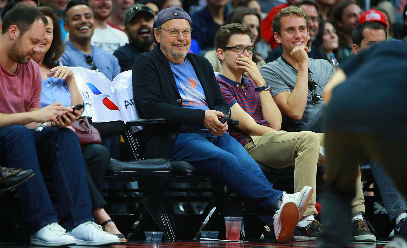 Actor/Comedian Billy Crystal attends the NBA game between the Denver Nuggets and the Los Angeles Clippers.
