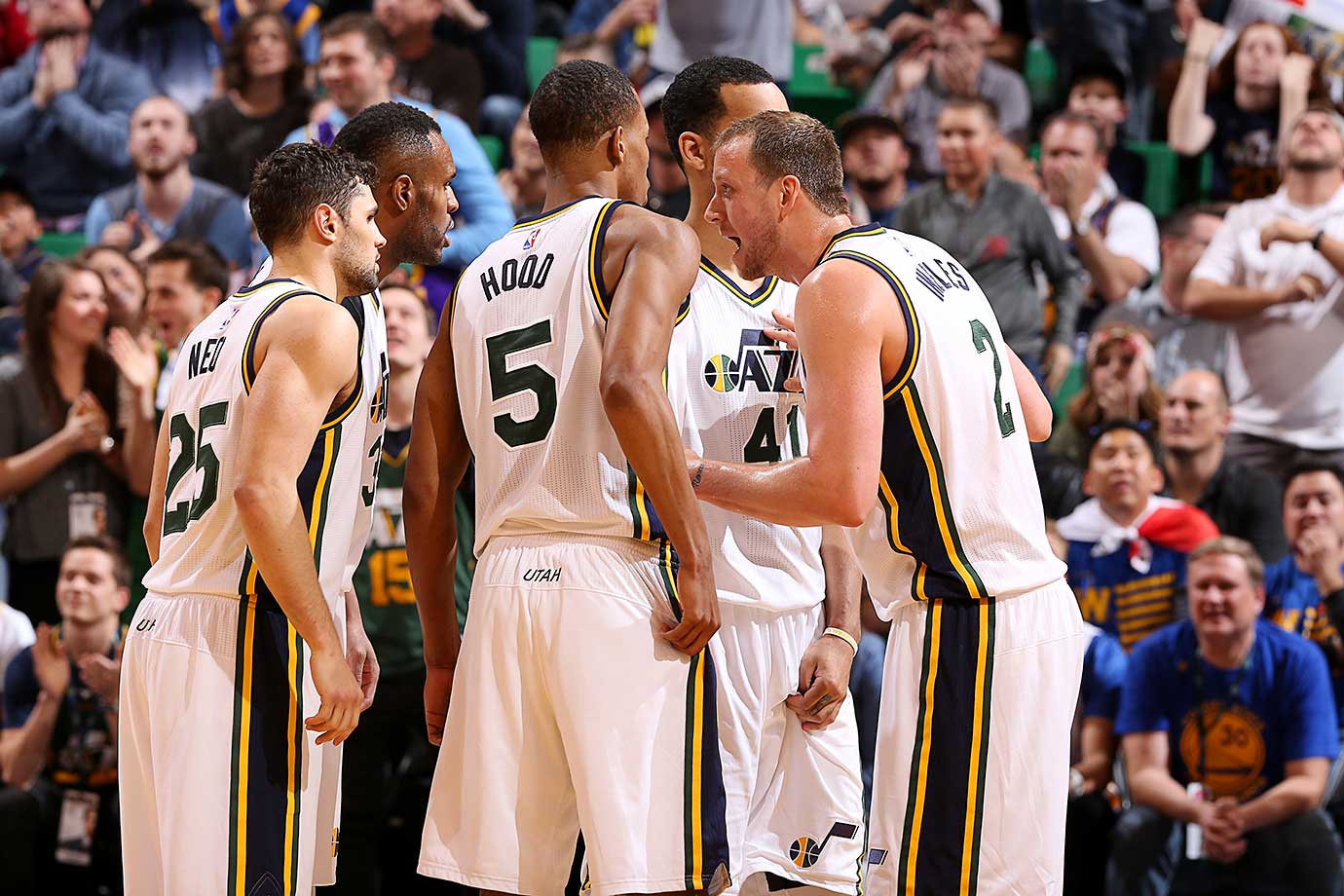 The Utah Jazz try to devise a way to defeat the Warriors, but to no avail.