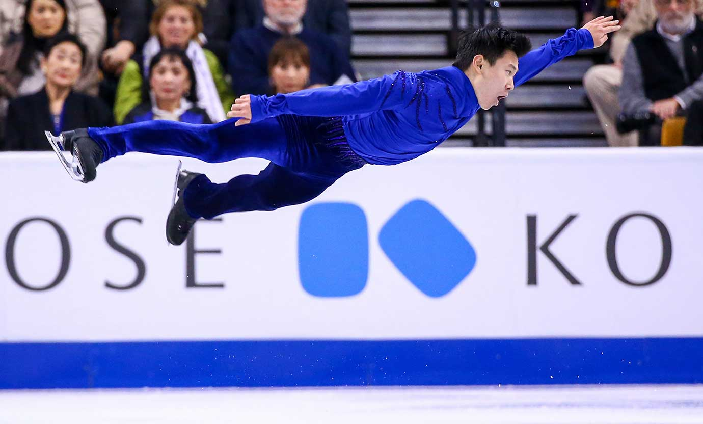 Denis Ten of Kazakhstan competes during Day 5 of the World Figure Skating Championships.