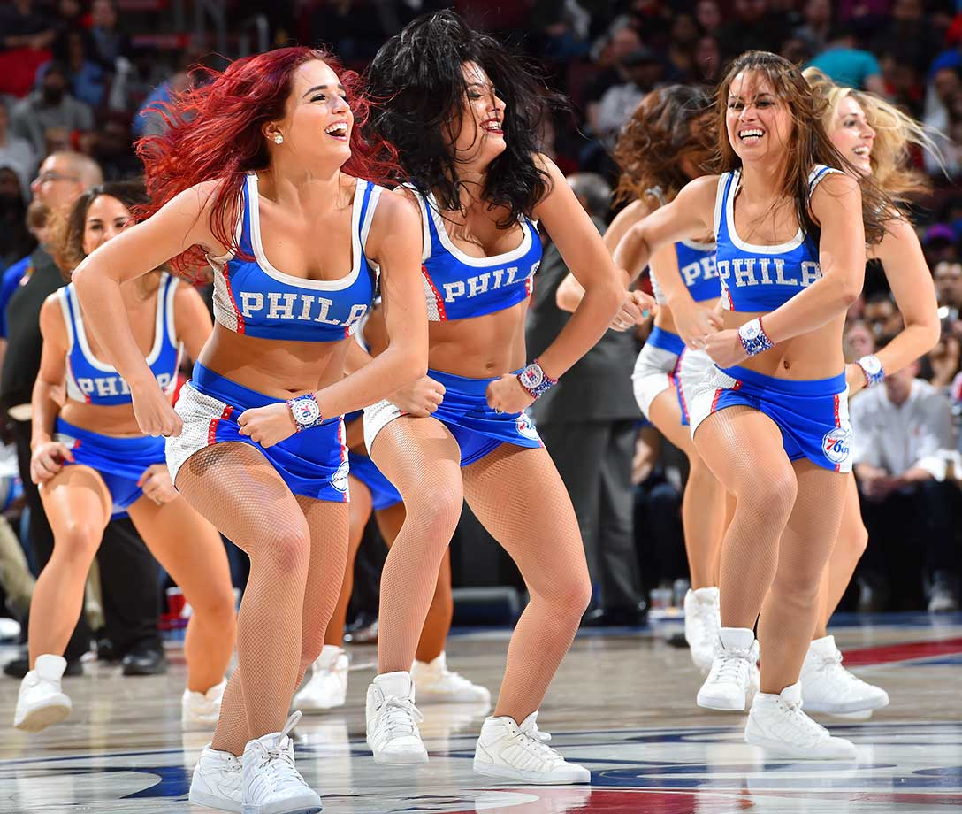 Members of the Philadelphia 76ers Dance Team perform for the crowd against the Indiana Pacers.