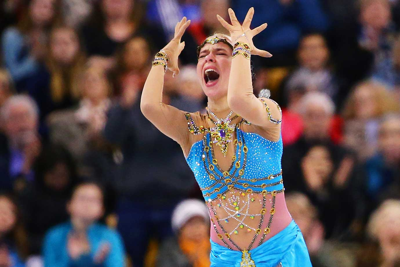 Third-place finisher Anna Pogorilaya of Russia reacts after completing her routine in the Ladies Free Skate program at the world championships in Boston.