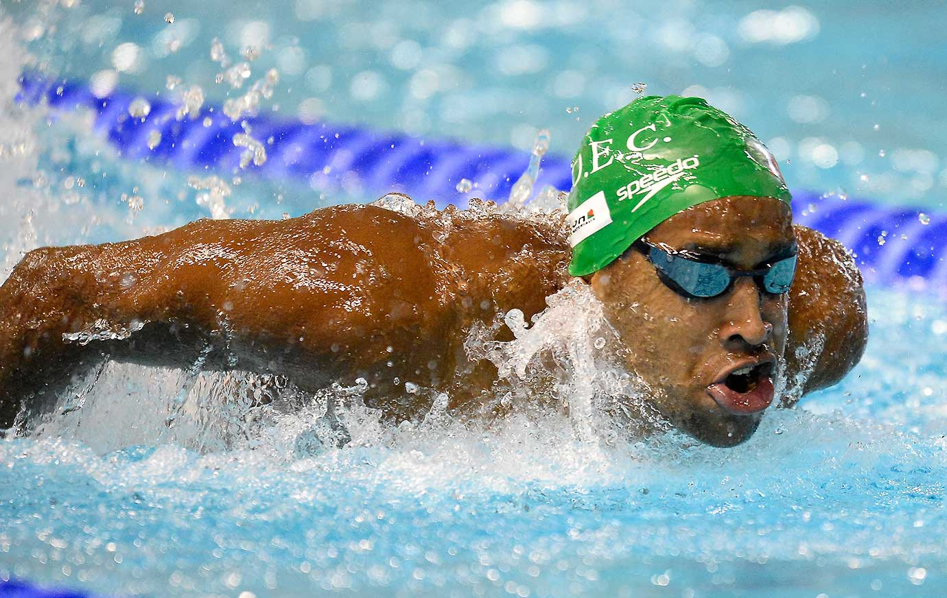 Marvin Maisonneuve of France competes in the 100m butterfly final at the French National Swimming Championships.