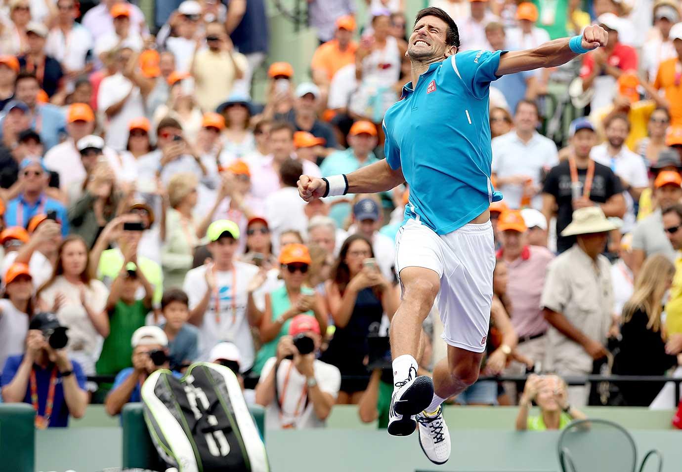 Novak Djokovic celebrates his win over Kei Nishikori of Japan in the championship match of the Miami Open.