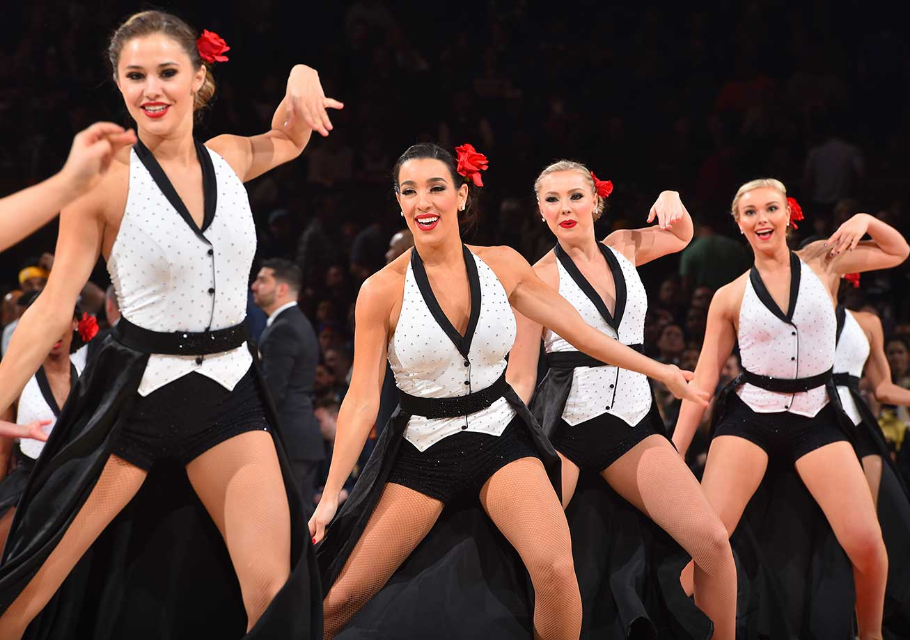 The New York Knicks dance team performs for the crowd against the Indiana Pacers.