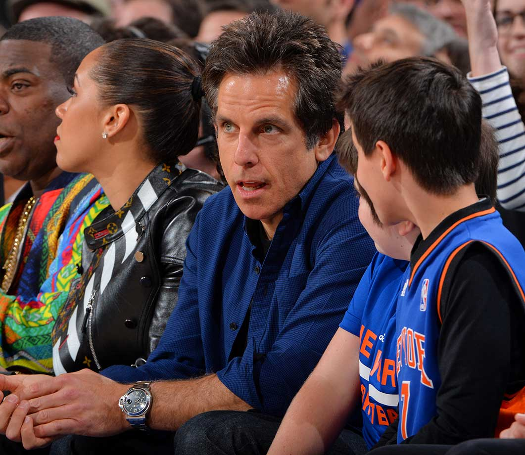 Actor Ben Stiller looks on during the New York Knicks game against the Indiana Pacers at Madison Square Garden.
