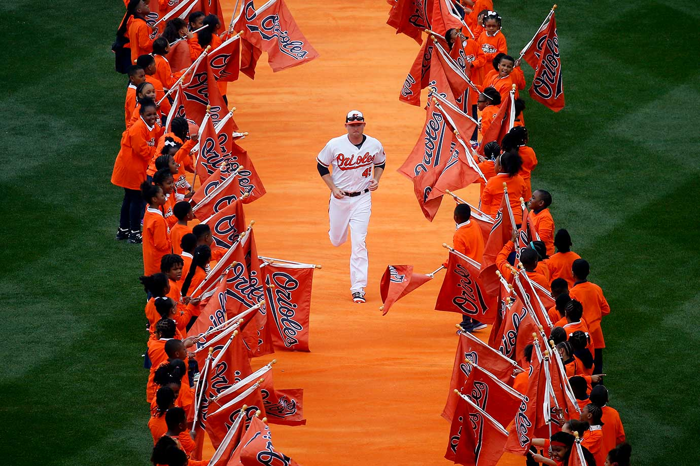 Mark Trumbo of the Orioles is introduced before the start of Baltimore's game against Minnesota.