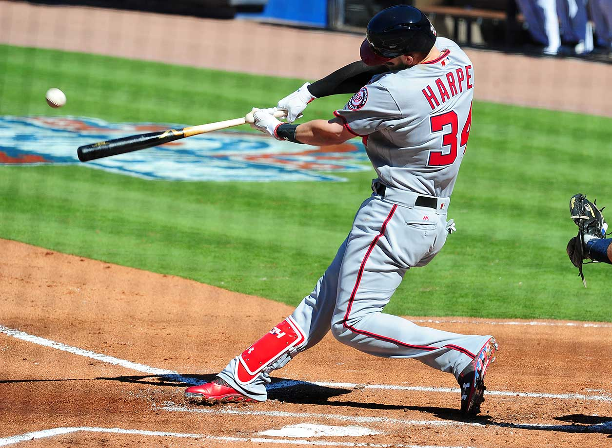 Bryce Harper of the Washington Nationals hits a first-inning solo home run against the Atlanta Braves.