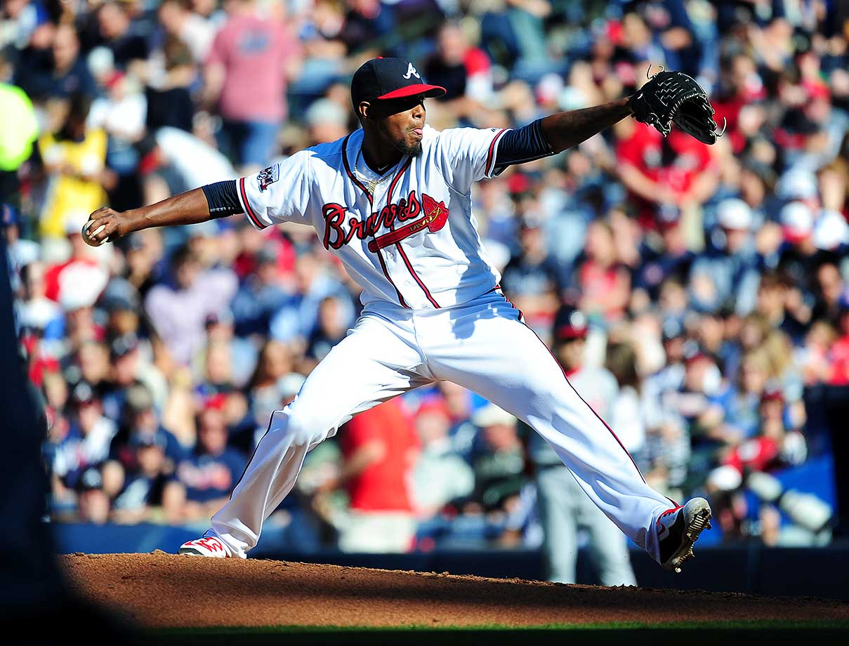 Julio Teheran of the Atlanta Braves throws a fourth-inning pitch against the Washington Nationals.