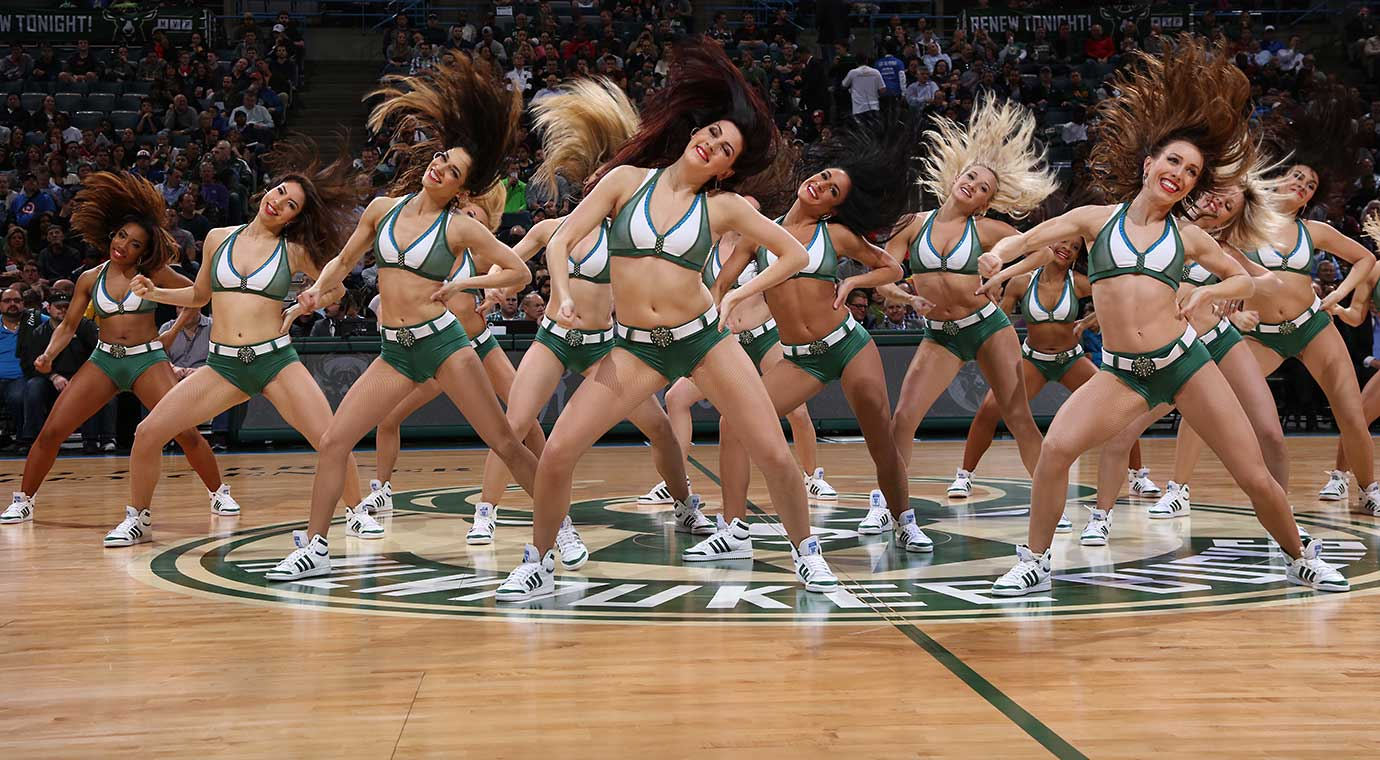 Dancers perform during the game between the Cleveland Cavaliers and Milwaukee Bucks.