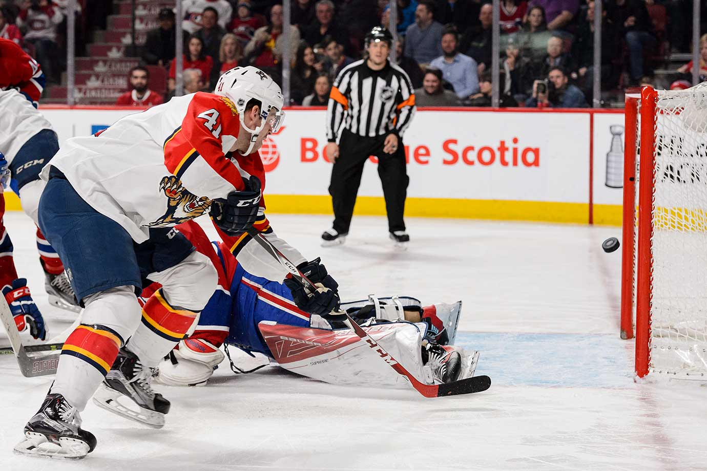 Gregg McKegg of the Florida Panthers scores against the Montreal Canadiens.