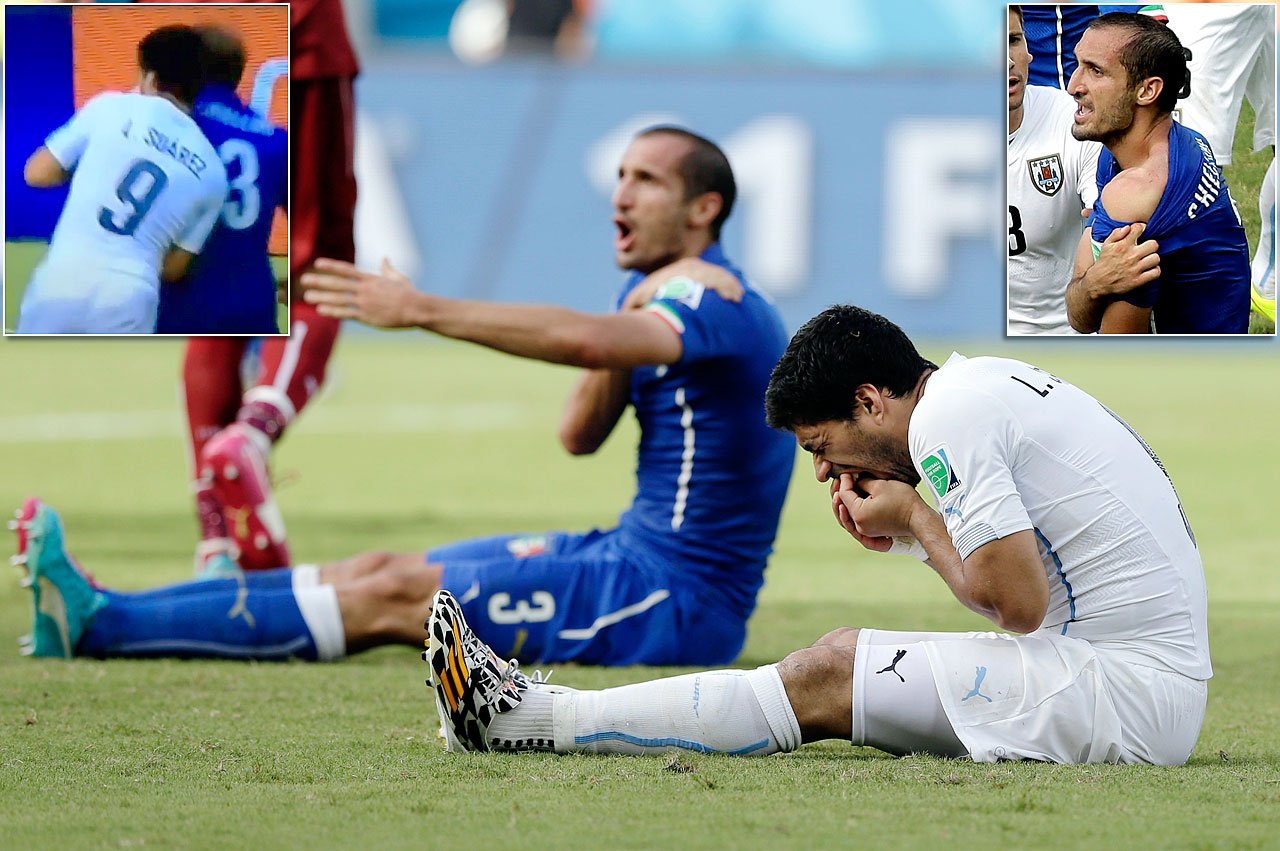 Uruguay's Luis Suarez bit Italy's Giorgio Chiellini's shoulder during the match, eventually leading to a four-month, nine-match suspension and a fine of 100,000 Swiss francs. While Uruguay beat Italy 1-0, Suarez was banned from playing in the rest of the tournament.