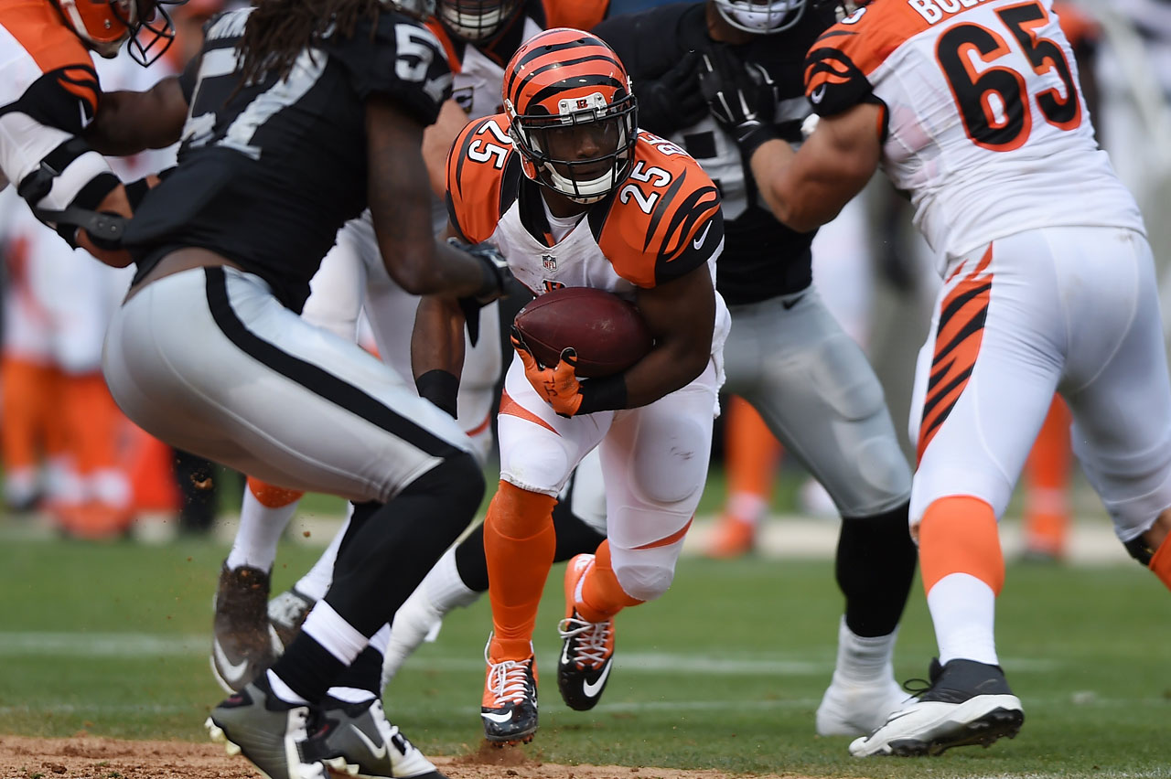 Giovani Bernard of the Cincinnati Bengals rushes against the Oakland Raiders.